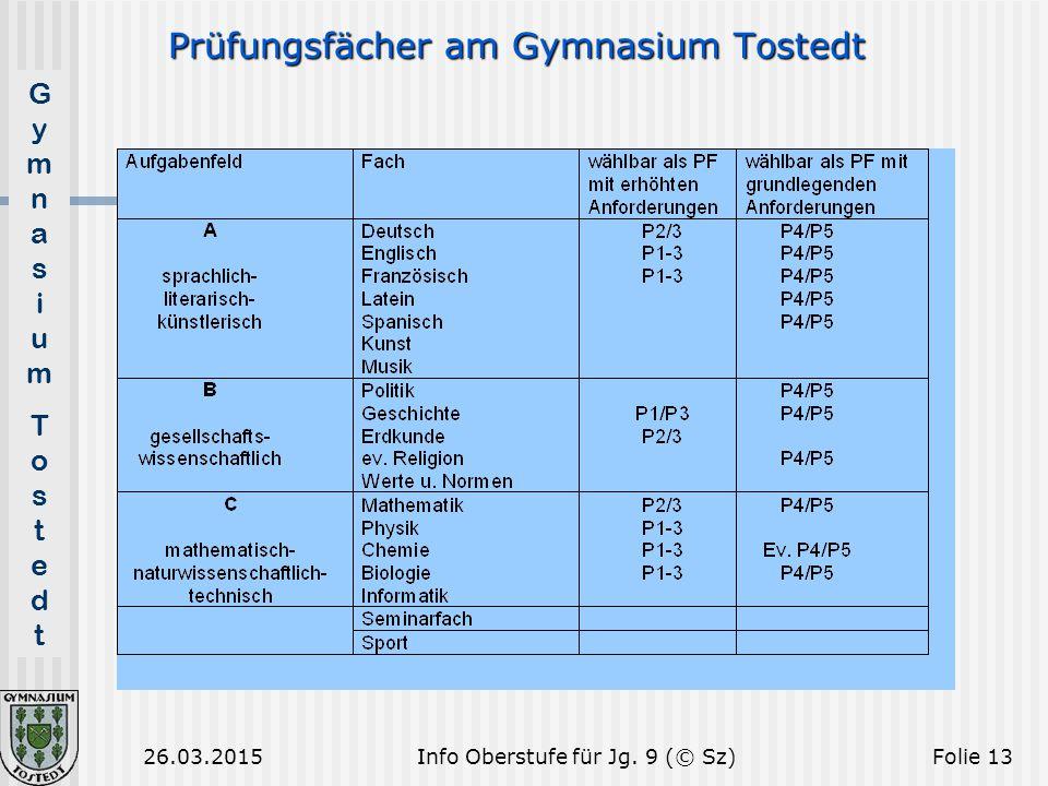 Prüfungsfächer am Gymnasium Tostedt