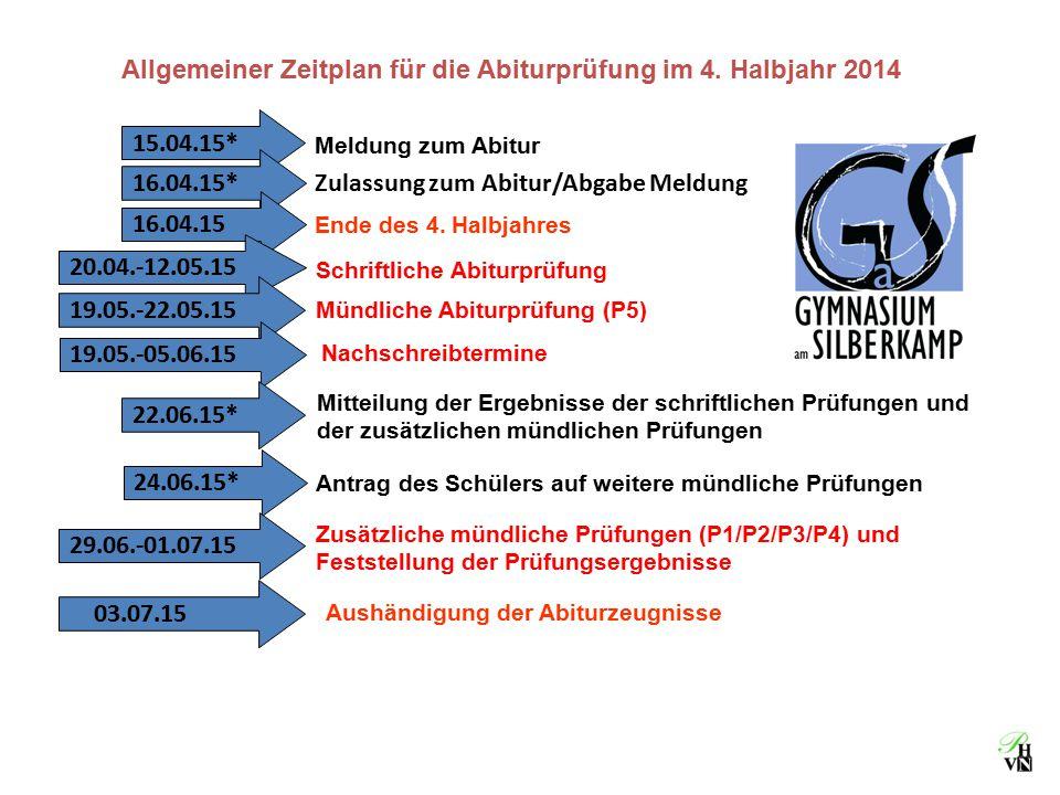 Allgemeiner Zeitplan für die Abiturprüfung im 4. Halbjahr 2014