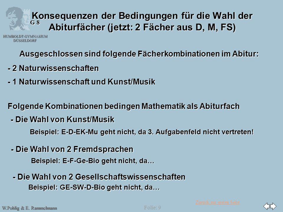 08.04.2017 Konsequenzen der Bedingungen für die Wahl der Abiturfächer (jetzt: 2 Fächer aus D, M, FS)