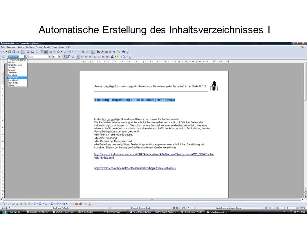 Automatische Erstellung des Inhaltsverzeichnisses I