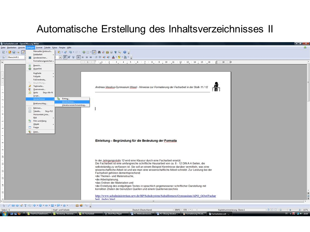 Automatische Erstellung des Inhaltsverzeichnisses II