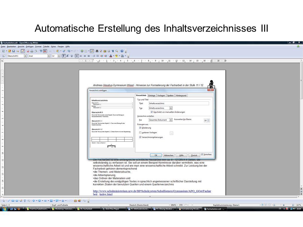 Automatische Erstellung des Inhaltsverzeichnisses III