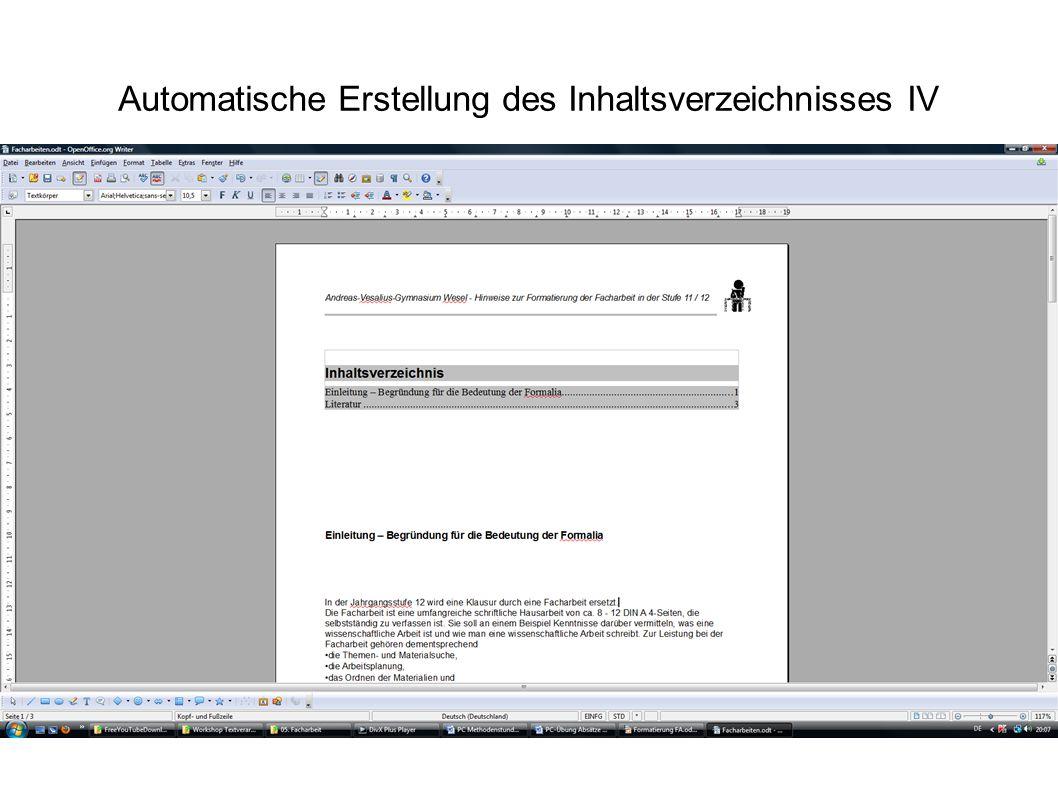 Automatische Erstellung des Inhaltsverzeichnisses IV