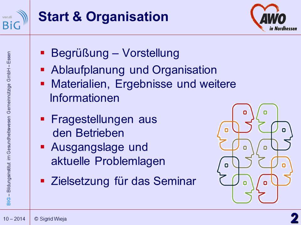 Start & Organisation 2 Begrüßung – Vorstellung
