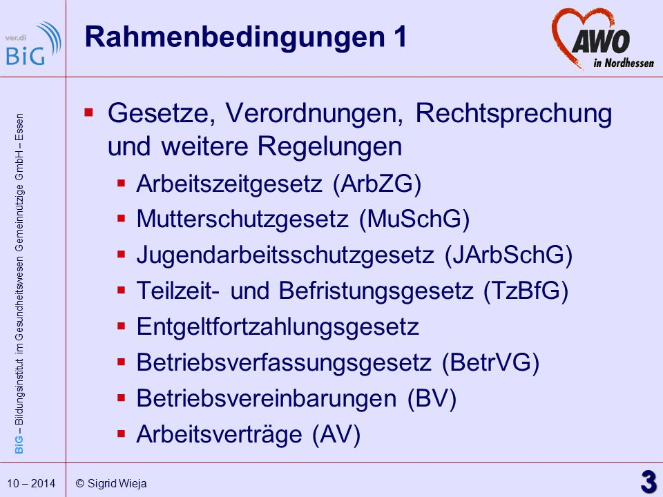 Rahmenbedingungen 1 Gesetze, Verordnungen, Rechtsprechung und weitere Regelungen. Arbeitszeitgesetz (ArbZG)
