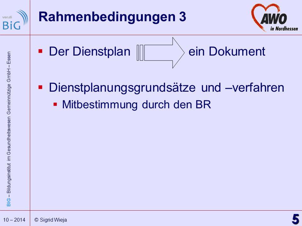 Rahmenbedingungen 3 Der Dienstplan ein Dokument