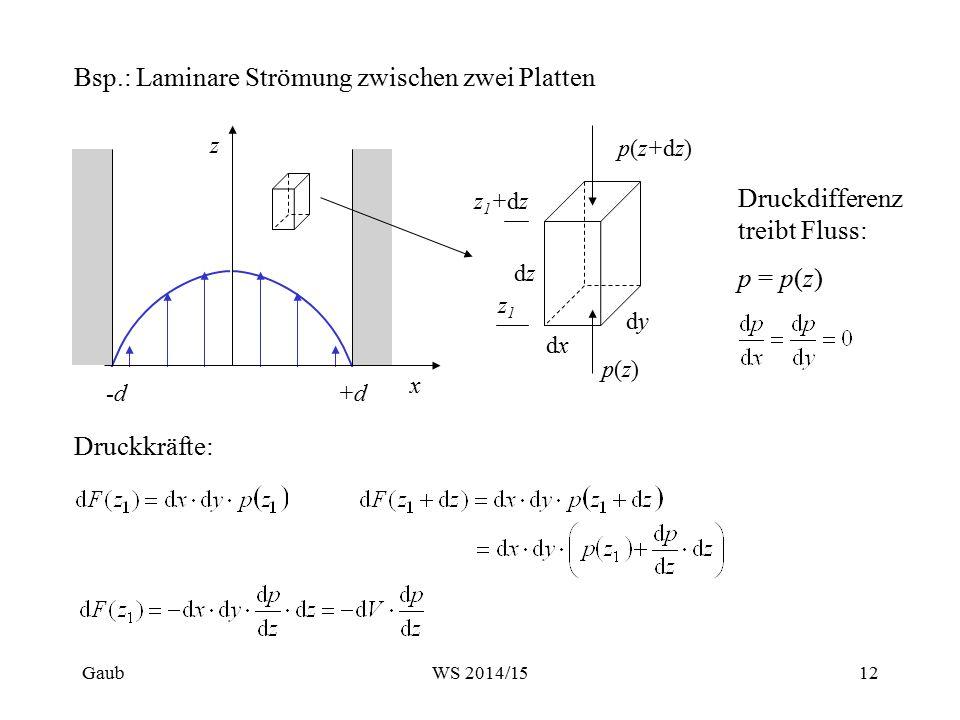 Bsp.: Laminare Strömung zwischen zwei Platten