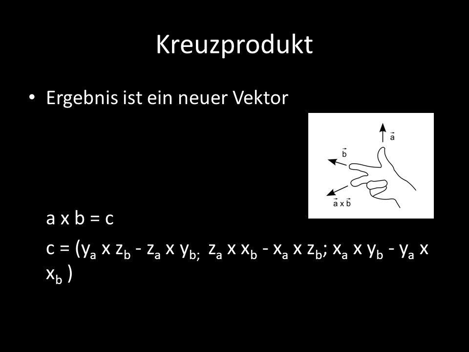 Kreuzprodukt Ergebnis ist ein neuer Vektor a x b = c