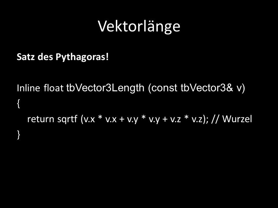 Vektorlänge Satz des Pythagoras.