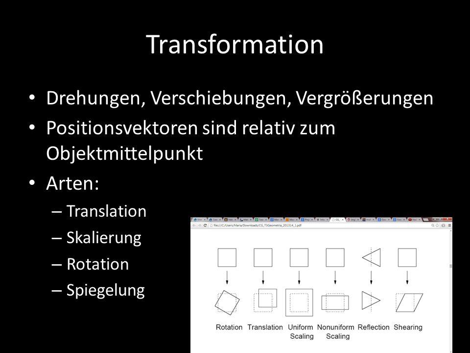 Transformation Drehungen, Verschiebungen, Vergrößerungen