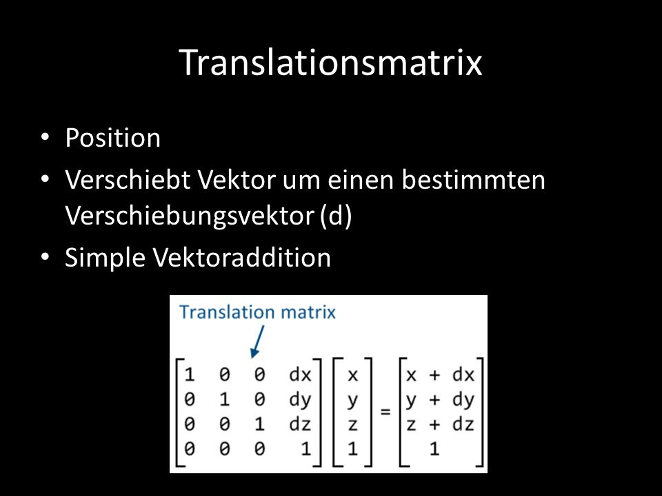 Translationsmatrix Position