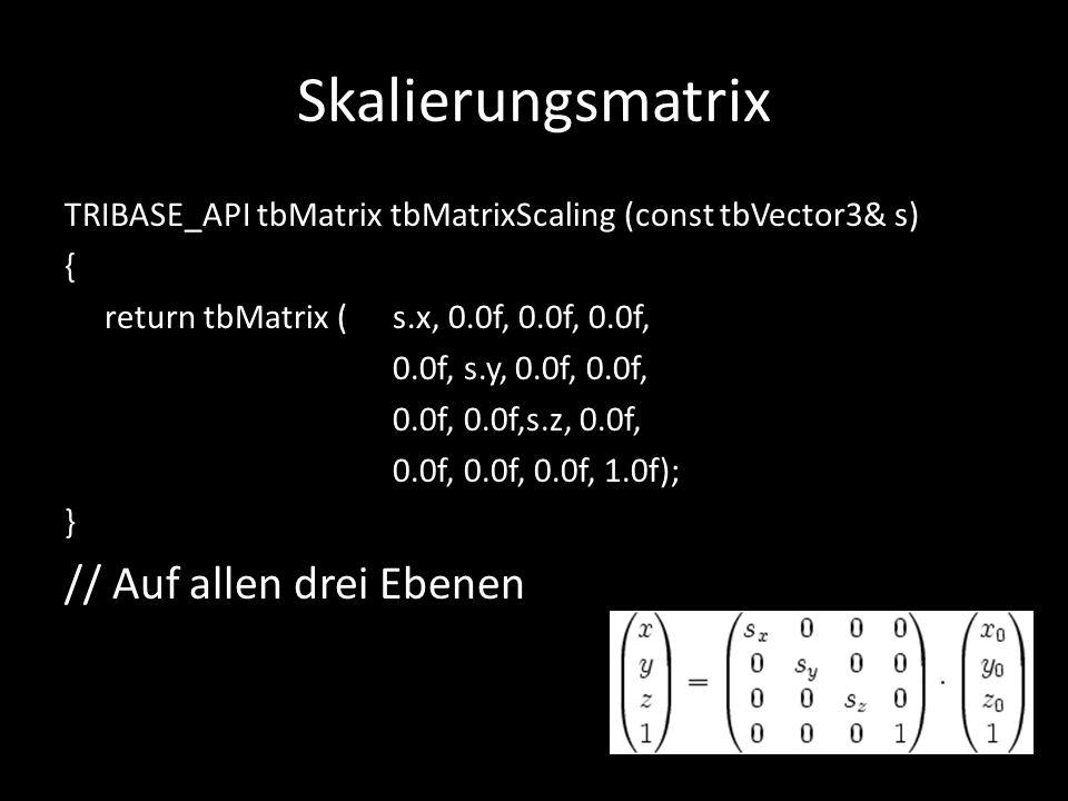 Skalierungsmatrix // Auf allen drei Ebenen