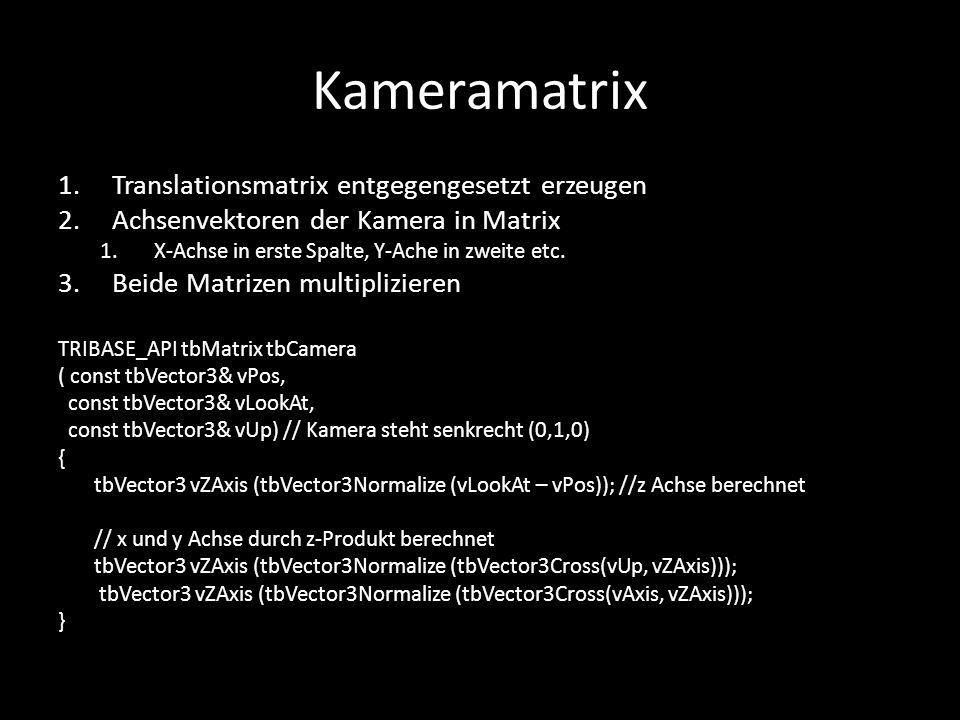 Kameramatrix Translationsmatrix entgegengesetzt erzeugen