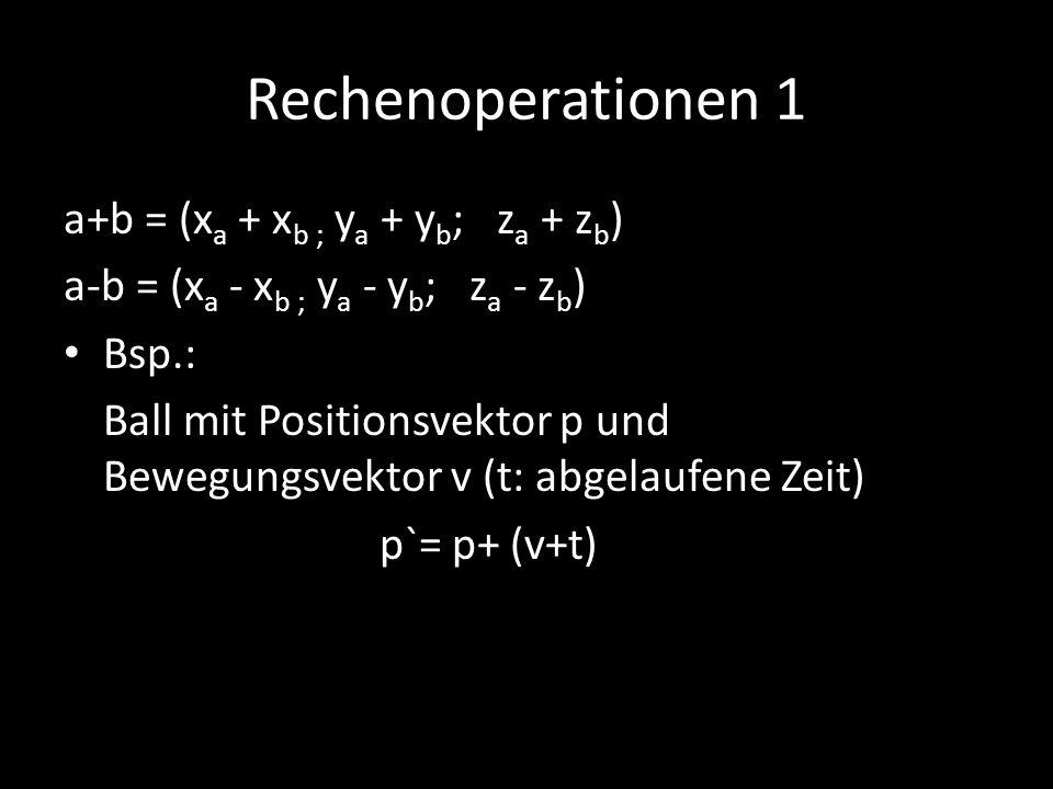 Rechenoperationen 1 a+b = (xa + xb ; ya + yb; za + zb)