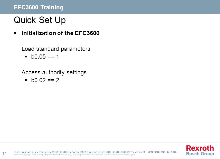 Quick Set Up EFC3600 Training Initialization of the EFC3600