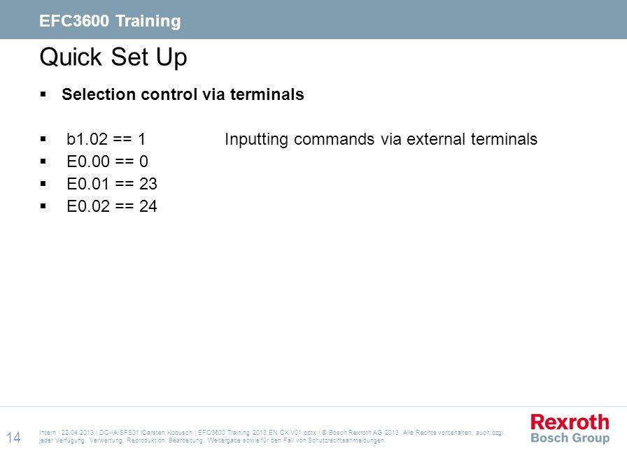 Quick Set Up EFC3600 Training Selection control via terminals