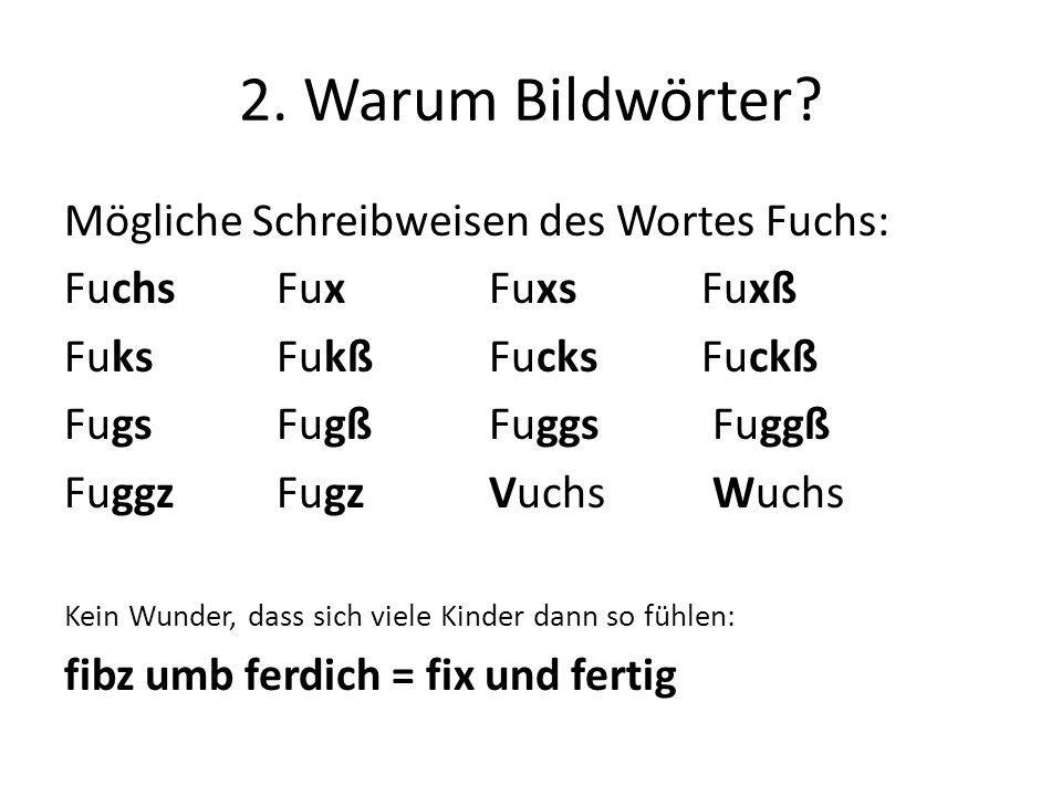 2. Warum Bildwörter Mögliche Schreibweisen des Wortes Fuchs:
