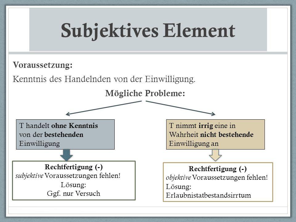 Subjektives Element Voraussetzung: Kenntnis des Handelnden von der Einwilligung. Mögliche Probleme: