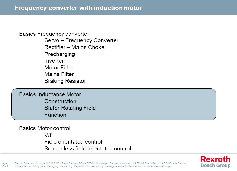 Frequency converter with induction motor