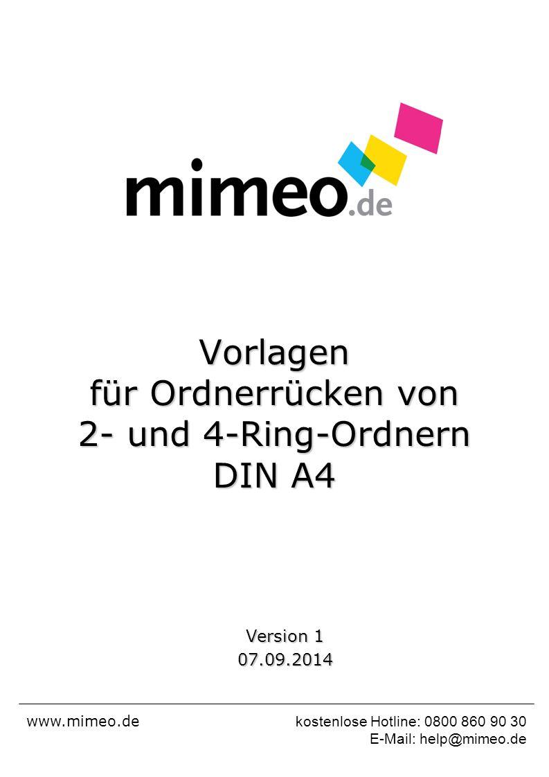 Vorlagen für Ordnerrücken von 2- und 4-Ring-Ordnern DIN A4