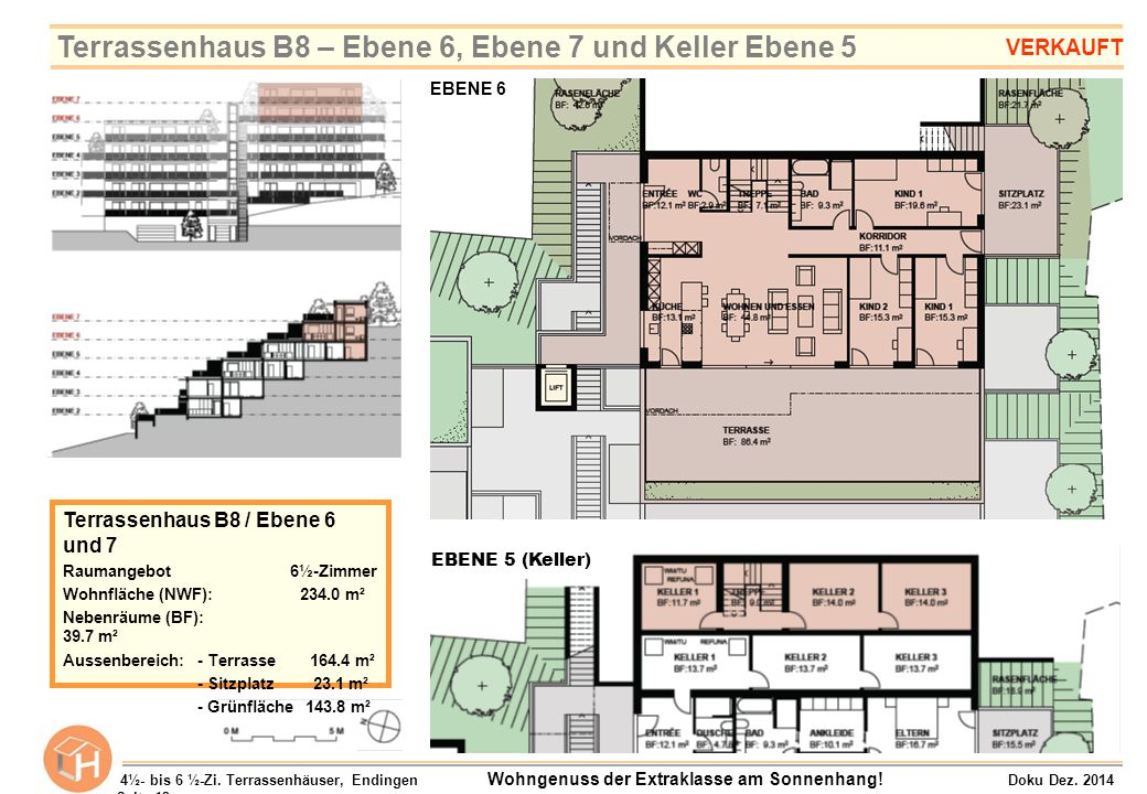 Terrassenhaus B8 – Ebene 6, Ebene 7 und Keller Ebene 5