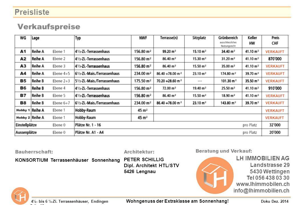 Preisliste LH IMMOBILIEN AG Landstrasse 29 5430 Wettingen