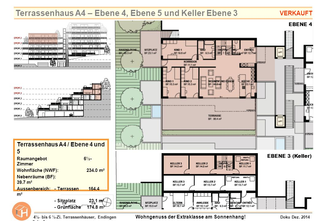 Terrassenhaus A4 – Ebene 4, Ebene 5 und Keller Ebene 3