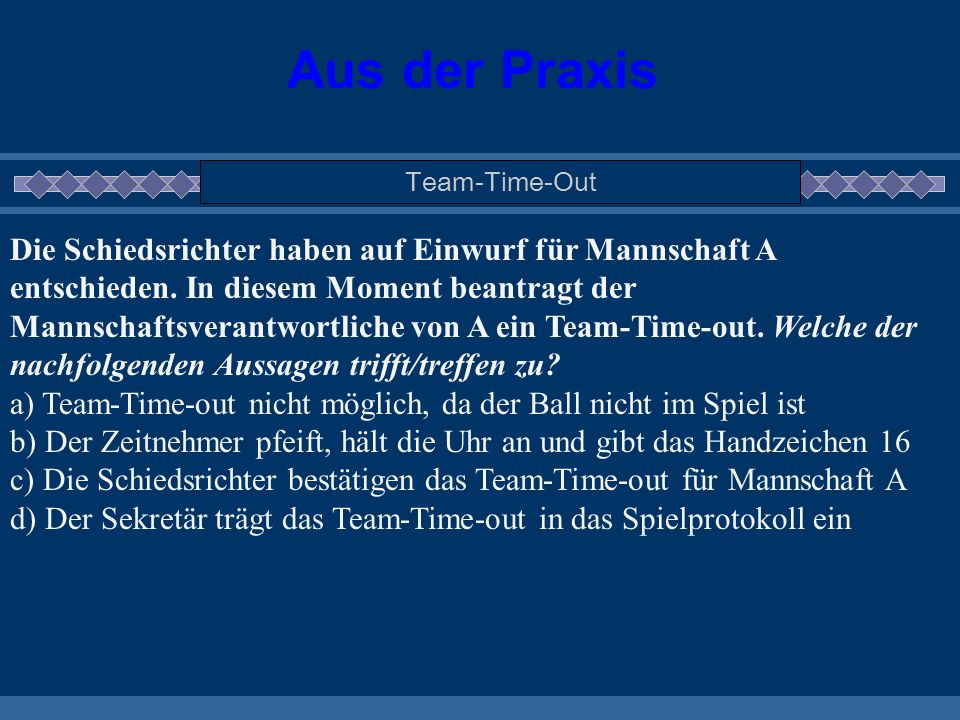 Aus der Praxis Team-Time-Out.