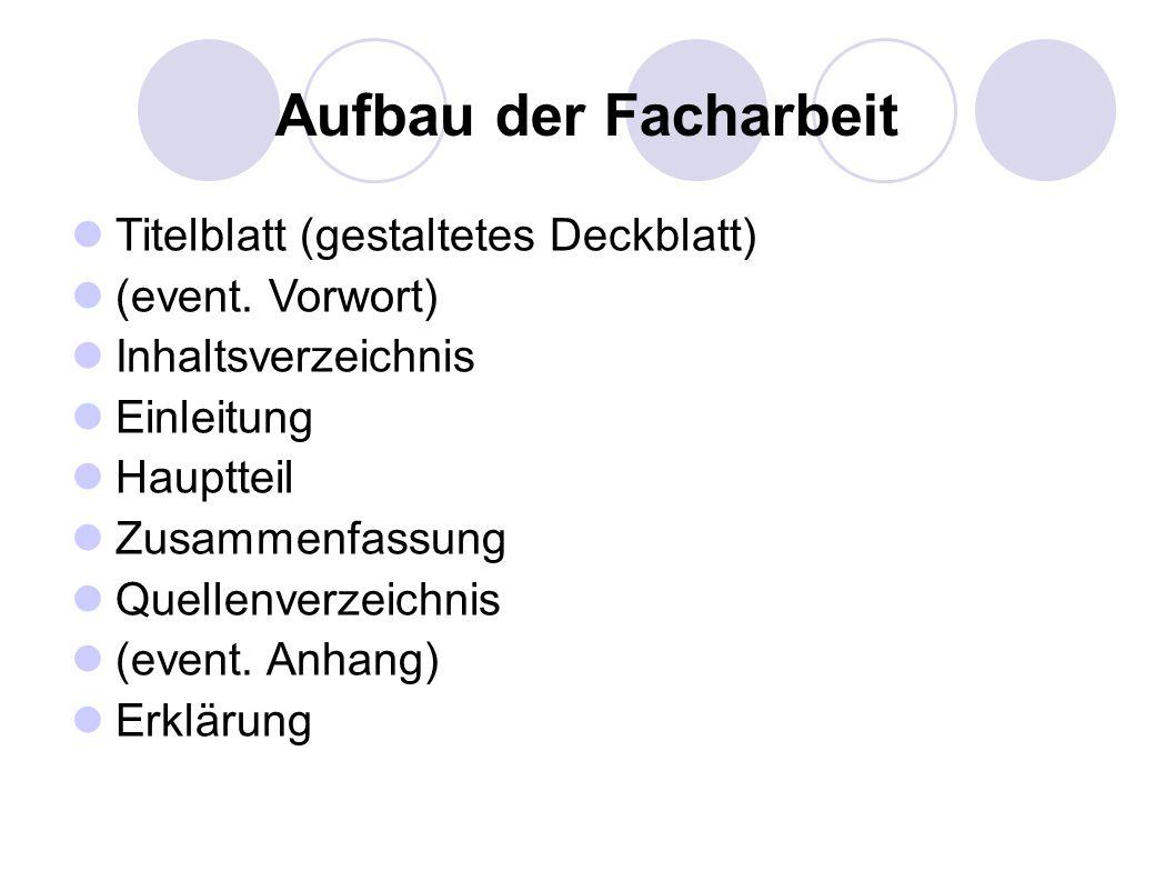 Titelblatt (gestaltetes Deckblatt) (event. Vorwort) Inhaltsverzeichnis