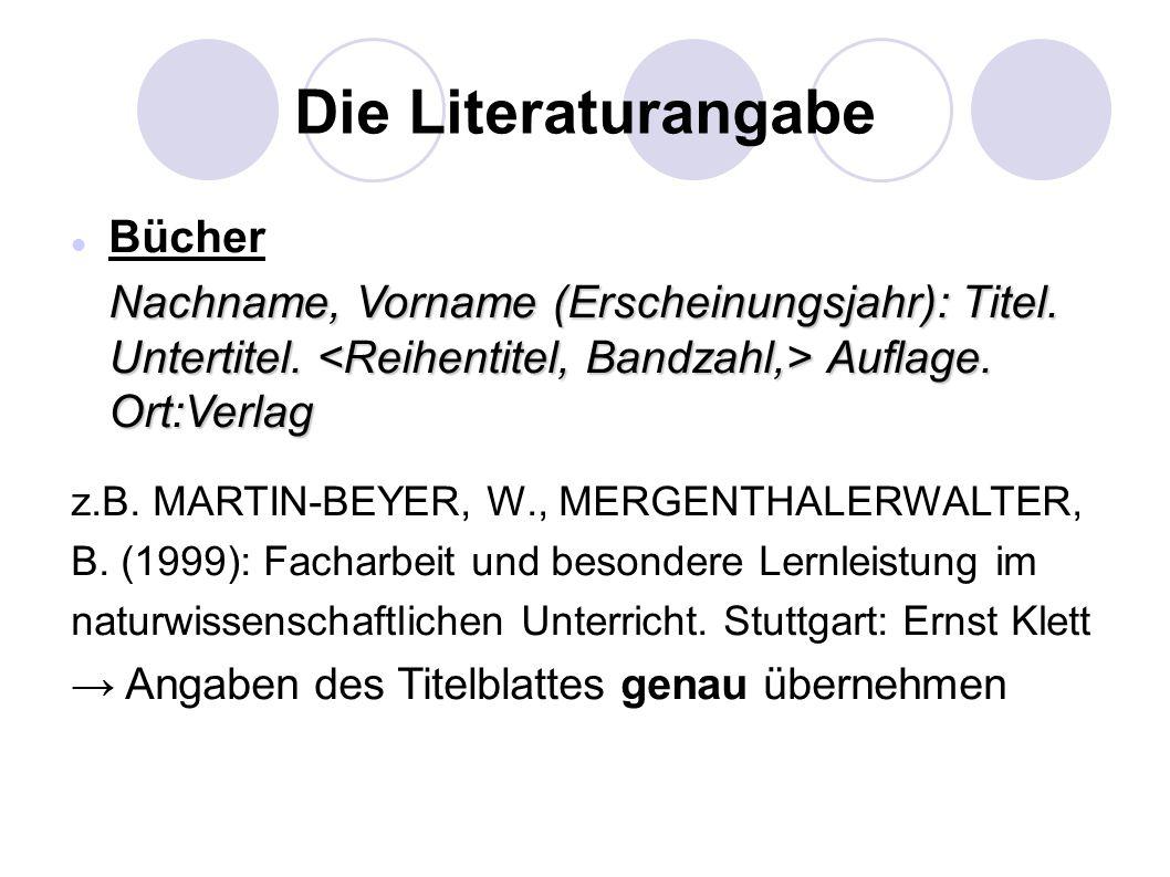 Die Literaturangabe Bücher