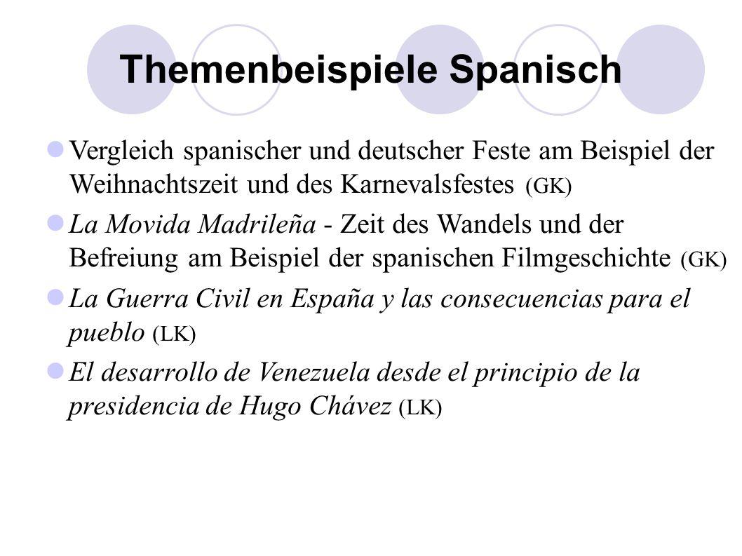 Themenbeispiele Spanisch