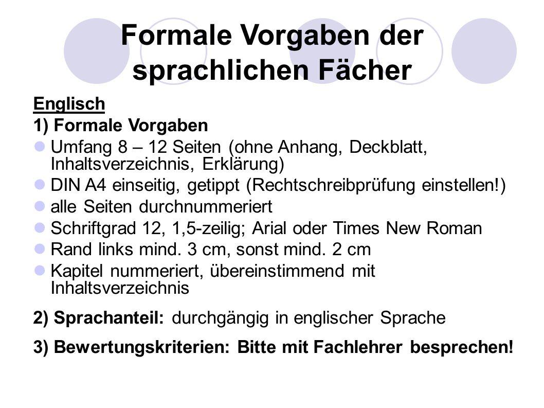 Formale Vorgaben der sprachlichen Fächer