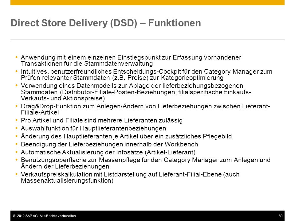Direct Store Delivery (DSD) – Funktionen