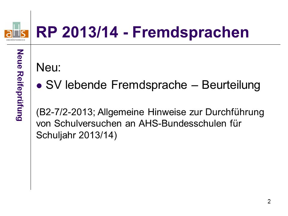 RP 2013/14 - Fremdsprachen Neu: