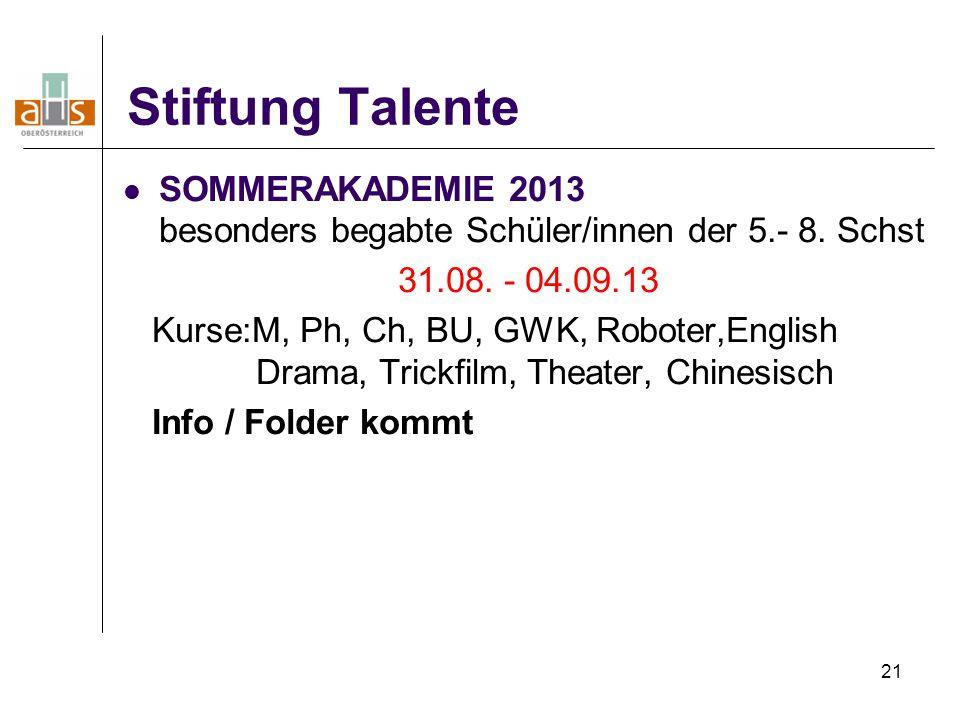 Stiftung Talente SOMMERAKADEMIE 2013 besonders begabte Schüler/innen der 5.- 8. Schst. 31.08. - 04.09.13.