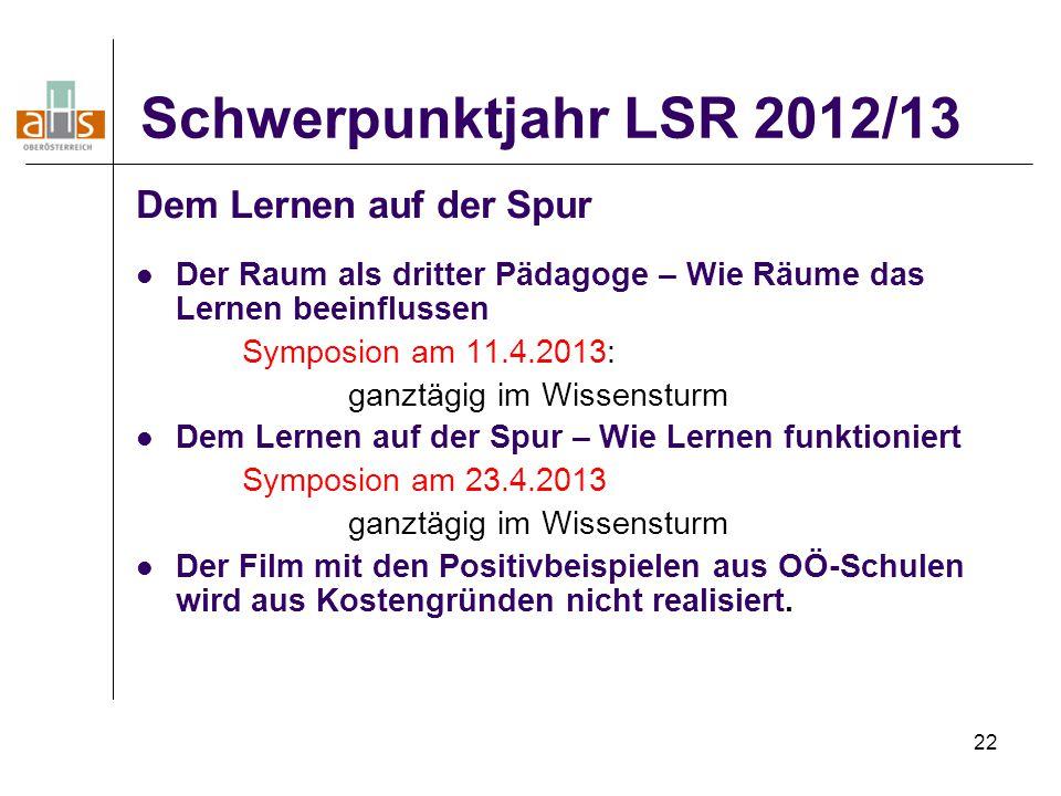 Schwerpunktjahr LSR 2012/13 Dem Lernen auf der Spur