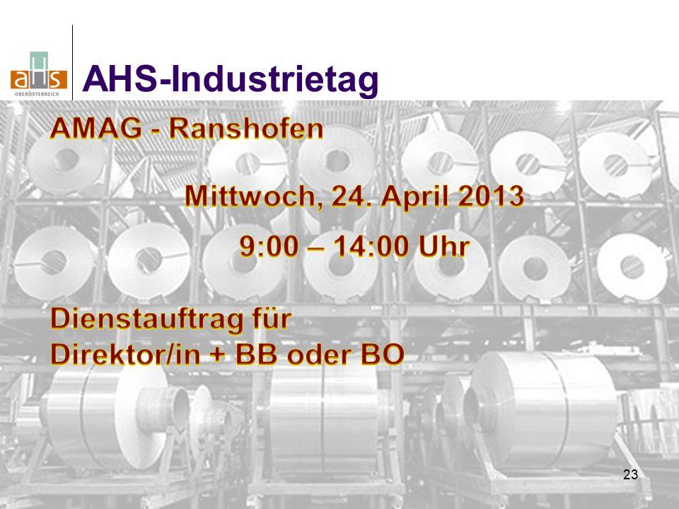 AHS-Industrietag AMAG - Ranshofen Mittwoch, 24. April 2013