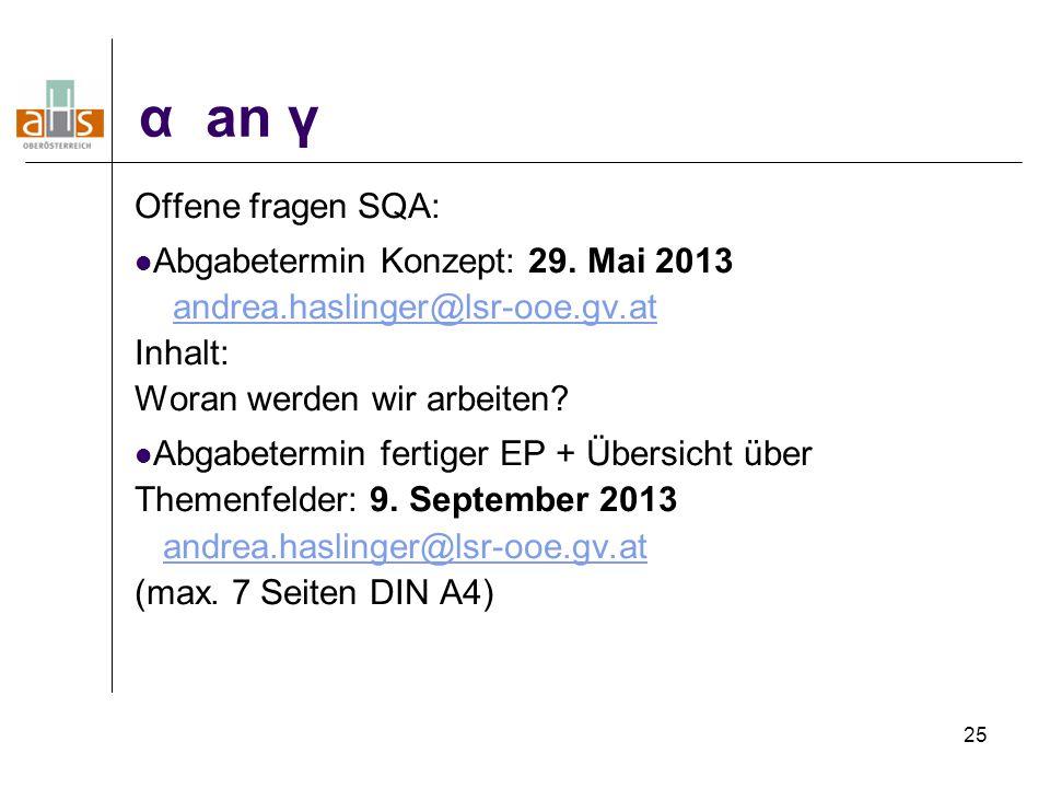 α an γ Offene fragen SQA: