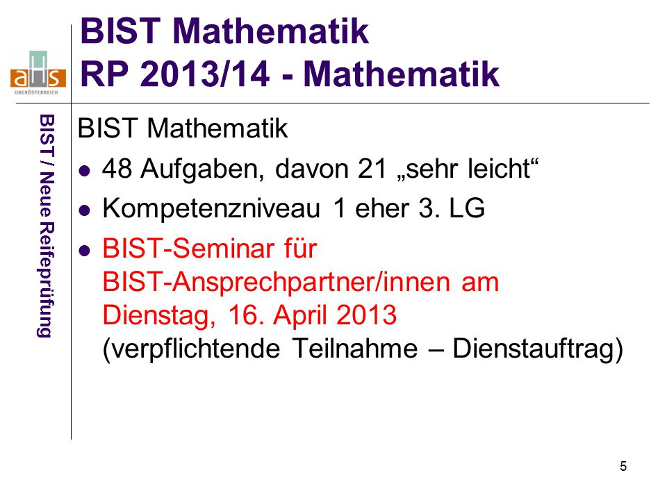 BIST Mathematik RP 2013/14 - Mathematik