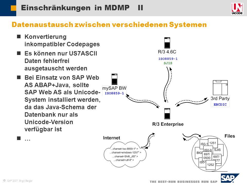 Einschränkungen in MDMP II