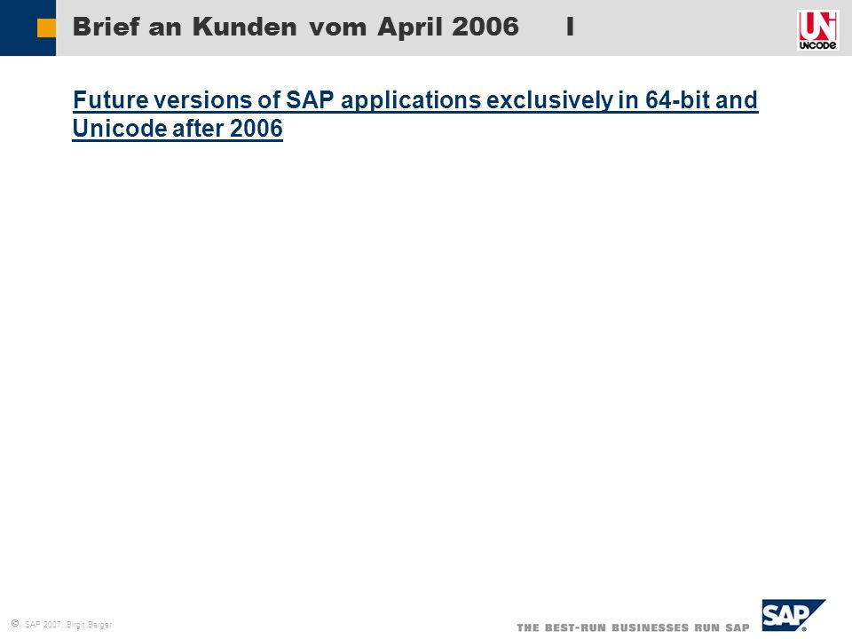 Brief an Kunden vom April 2006 I