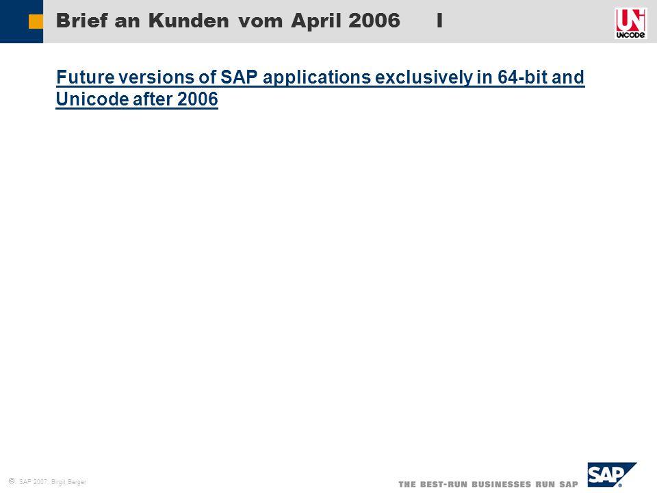 Brief an Kunden vom April 2006 I