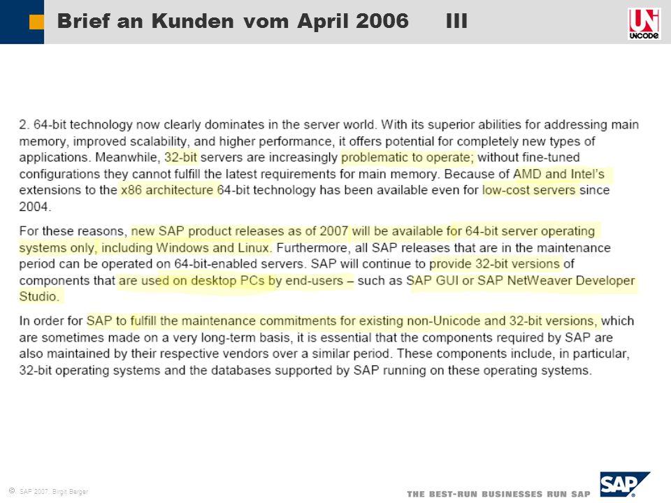 Brief an Kunden vom April 2006 III