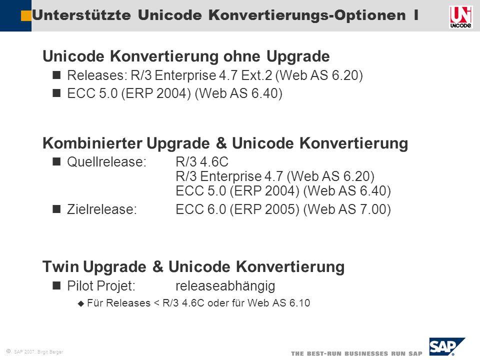 Unterstützte Unicode Konvertierungs-Optionen I