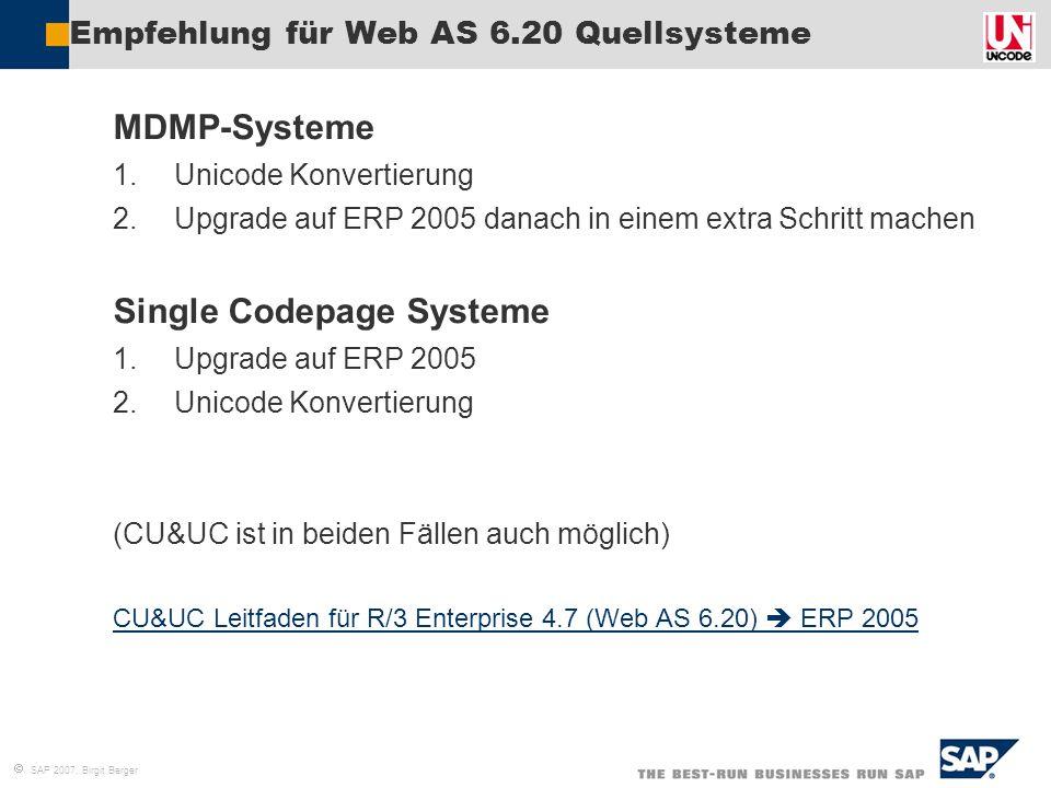 Empfehlung für Web AS 6.20 Quellsysteme