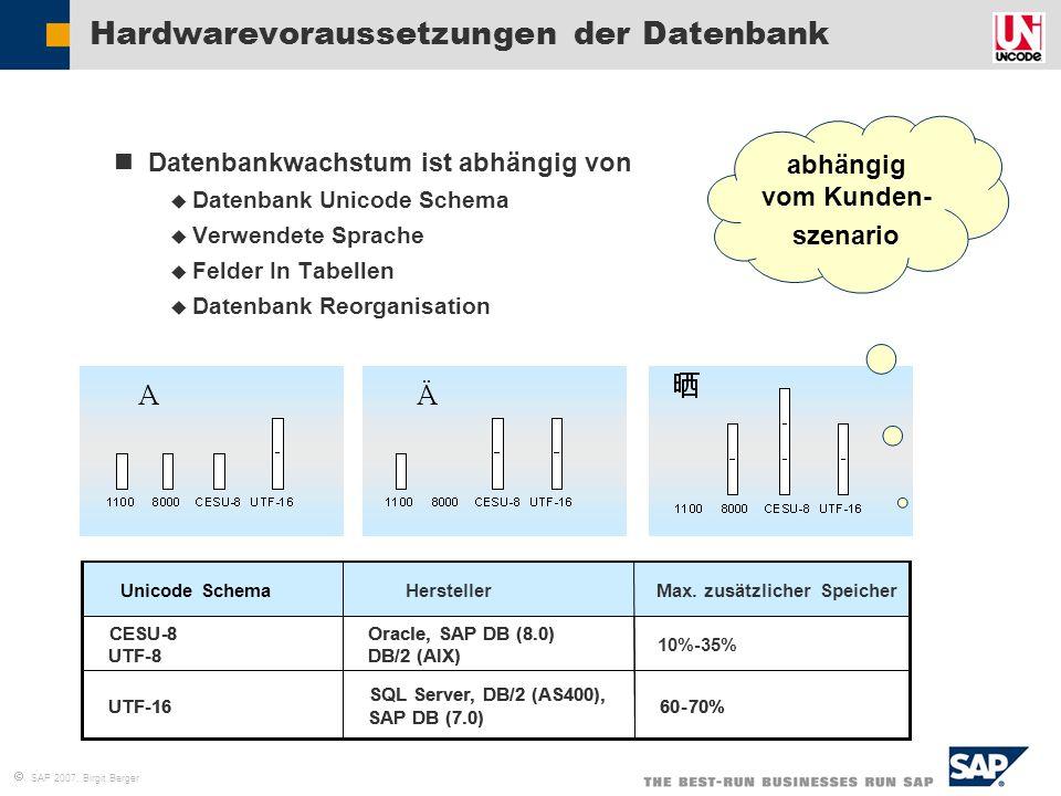 Hardwarevoraussetzungen der Datenbank