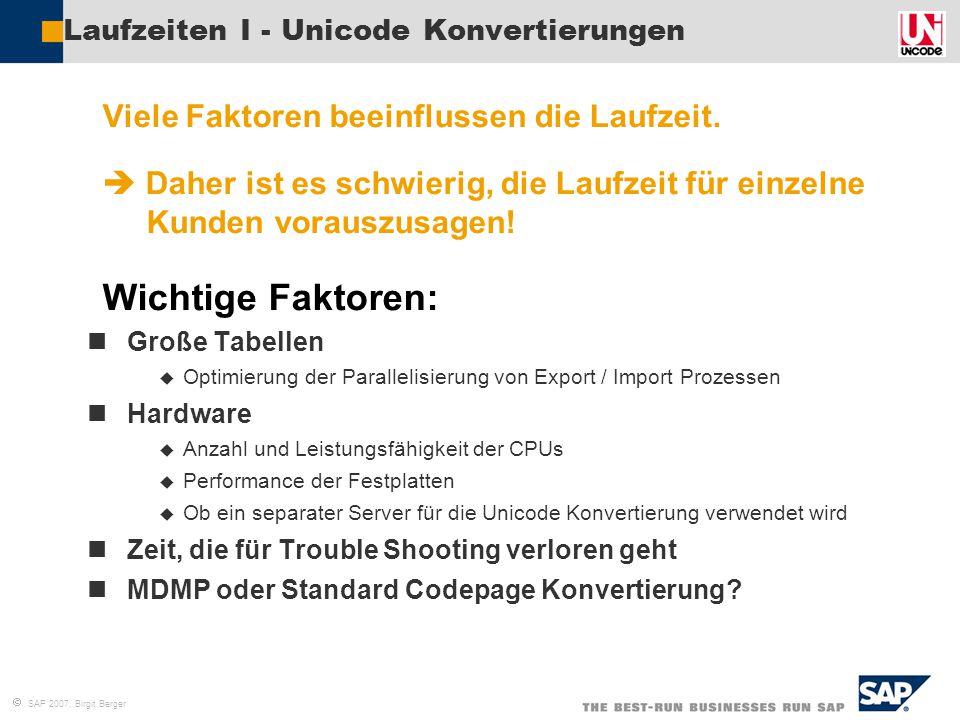 Laufzeiten I - Unicode Konvertierungen