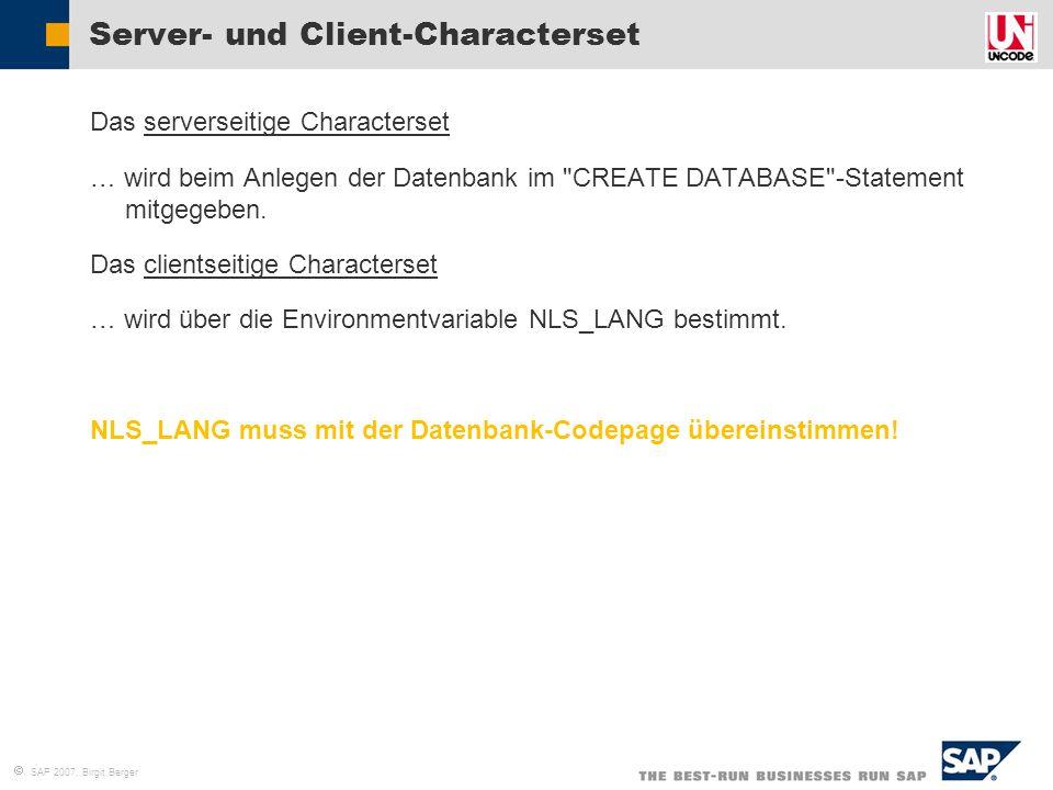 Server- und Client-Characterset