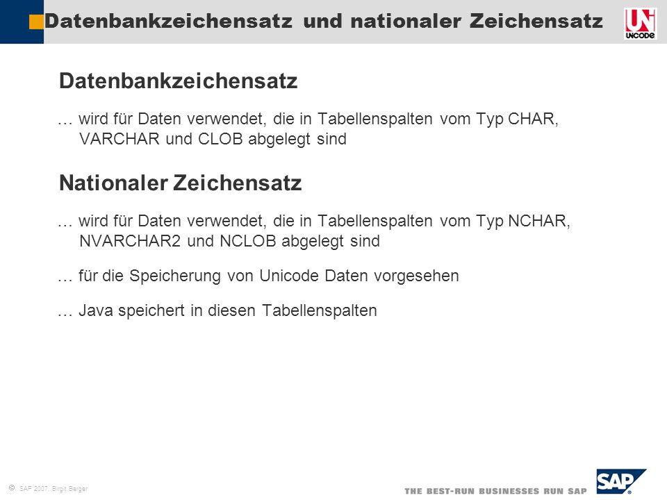 Datenbankzeichensatz und nationaler Zeichensatz