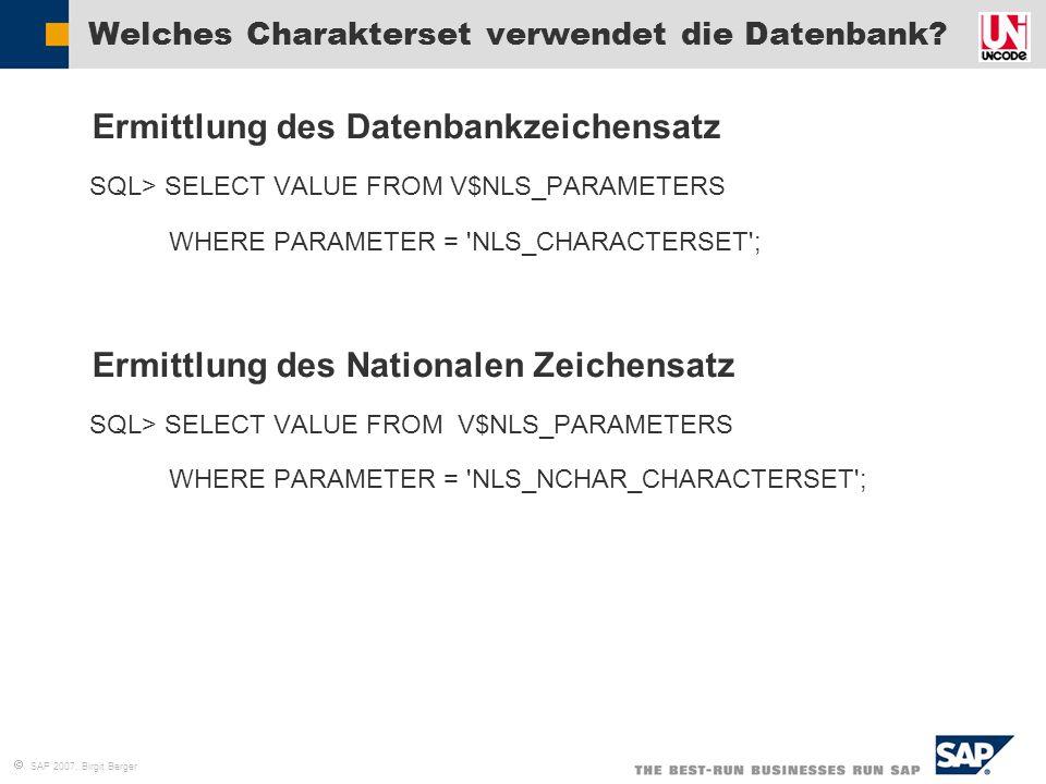 Welches Charakterset verwendet die Datenbank